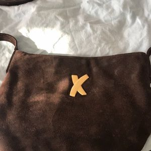 Brown suede Paloma Picasso cross body bag